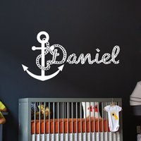 Wholesale boys name wall decals - Personalized Kids Name Vinyl Wall Stickers Anchor Decals Boys Room Decor