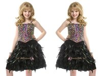 Wholesale Organza Feather Beaded Wedding Dress - Knee-Length Fashion Girl Pageant Dress Straps Color Beaded Kid dresses For Wedding Party Birthday Gifts Short Children Ball Gowns