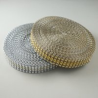 "Wholesale Wholesale Yards Bling - (3 4"")20mm Gold Silver Acrylic bling (looks like Rhinestone) Diamond Wedding Party Cake Mesh Wrap Trim Ribbon Banding 10 Yards"
