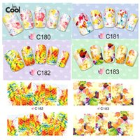 Wholesale Tattoo Stickers For Nails - Wholesale- 1 Sheet Beauty Nail Art Flower Leaves Water Transfer Temporary Tattoo Stickers Slider Full Wraps DIY FOR Nails Decals #C180-183