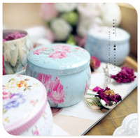 Wholesale Tea Tin Cans - Portable Drum shaped tin boxes flower tea container cans for party gifts package 100pcs lot wholesale free shippin