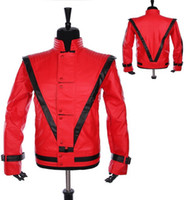 Wholesale Leather Jean Jacket Xl - Fall-New MJ Free shipping Wholesale Michael Jackson Leather Thriller Red Jacket And Free Billie Jean Glove