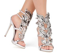 Wholesale Shoe Nude Patent Leather - 2016 Luxury women red suede Cruel Summer sandals polished golden metal leaf Winged Gladiator Sandals toe band 12cm Heels Shoes