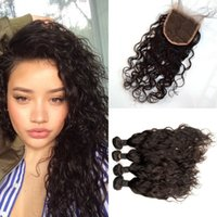 Wholesale Easy Deal - Malaysian hair weaves and closure 100% human hair virgin water wave lace closure with 4 pieces hair bundles deals G-EASY