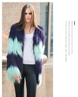 Wholesale Korean Winter Coats For Women - DHL Winter Women Plus Size Coat Fashion Korean Mosaic Coat Wholesale Fashion Fox Fur Ladies Outwear For Women Free Shipping
