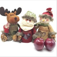 Wholesale Christmas Eve Gift Boxes - Christmas candy box Santa Claus Deer Christmas Xmas Eve Gift Candy Box Can Container Candy Box Apple Bag Xmas Decorations LJJK798