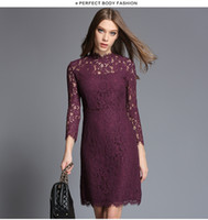 Wholesale Midi Pencil Skirt Dresses - 2017 New Bodycon Lace Dress Hot Fashion Summer Prom Party Pencil Dress Ladies casual midi skirts