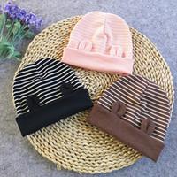 Wholesale Carton Hats - Infants Baby hat Beanies Lovely Carton Ears Stripes Caps Maternity Double layers 2017 Autumn Winter Cotton Soft warm beanie wholesale