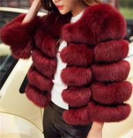 ingrosso giacca invernale a colori-Buona qualità nuovo modo di lusso della pelliccia di Fox delle donne della maglia corta giacca invernale caldo cappotto Gilet colori Varietà per la scelta