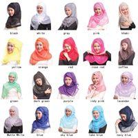 Wholesale flash simulation - Wholesale High simulation ribbon flash girls scarf muslim bonnets 180cm long square scarfs for women lady pure solid color