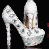 ingrosso scarpe nuziale nuziale in vendita-Vendita calda scarpe da sposa eleganti scarpe da donna moda cristallo perla tacco alto scarpe da sposa per la sposa sexy vestito da partito scarpe