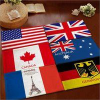 Wholesale Wholesale American Flannel - 9 desighs Flannel anti-skid carpet 40*60cm Australia USA UK Germany Canada Flag Doormat Flag Bedroom Carpet Flag Mats Door Rug LA199-2