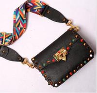 Wholesale Braided Leather Handbags - High quality fashion style rivet agate Genuine Leather braided shoulder strap flap shoulder bag handbag messenger bag ladies