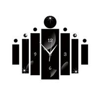 Wholesale free wall stickers - 2016 new Needle mirror wall clock living room quartz acrylic modern design 3d diy watch clocks stickers free shipping horloge TY2004