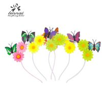 Wholesale Butterflies For Flower Girl Hair - Kids hair sticks stereo flowers butterfly cat ear hairbands for kids birthday party hair accessories Christmas girl princess headwear R0208