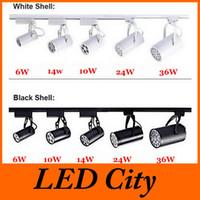 Wholesale Spot 12v Switch - Black White Shell 6W 10W 14W 24W 36W Led Track Lights 60 Angle Warm Natural Cool White Led Ceiling Spot Light AC 85-265V CE ROHS