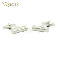 mejores gemelos de moda para hombre al por mayor-Vogem lujo moda gemelos de alta calidad de acero blanco plateado pilares redondos Vogue moda gemelos para hombre mejor regalo de boda joyería