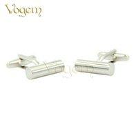 ingrosso migliori gemelli della moda uomo-Vogem Luxury Trendy Gemelli di alta qualità in acciaio bianco placcato rotondo pilastri Vogue moda gemello per mens miglior regalo di nozze gioielli