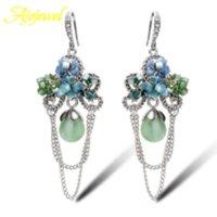 Wholesale Natural Jade Top - Top quality water drop natural jade earrings long luxury silver color SWA element crystal dangle earrings for women