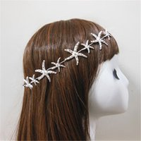 Fascia all'ingrosso Starfish Wedding Wedding Bridal Crystal Rhinestone Tiara Argento Accessori Capelli Headpiece Jewelry Beach Party Copricapo