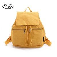 Wholesale Harajuku School Bags - Moon Wood Brand Harajuku Solid Canvas Backpack Yellow Pink Double Pocket Drawstring Backpack School Bags For Teenager Girls M623