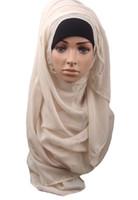 шарф hijab мусульман освобождает перевозку груза оптовых-Бесплатная доставка горячий взрослый хлопок мусульманский хиджаб новый тюрбан Джерси Баотоу Оптовая шарф монохромный расширение высокого класса