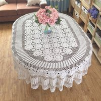 oval tablecloth sizes - Gorgeous crochet pattern tablecloth OVAL huge size table cover crochet Vintage style table linen for home decor Nice gift for Mom