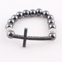 Wholesale Crystal Hematite Jewelry Wholesale - 2016 New Arrival Crystal Ball Hematite Vintage Cross Bracelets for Women Colorful Balls for Choose Female Bracelet&Bangles Jewelry B489