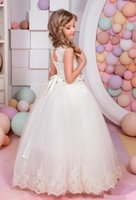Wholesale long tail elegant gown - 2017 elegant baby girl cute asymmetric halterneck solid mesh long tail flower girl dress tutu wedding party backless trailing ball gown dre