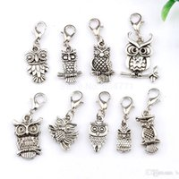 MIC 90PCS Antique Silver ZInc Alloy Mix Owl Charm Com fecho de lagosta Fit Charm Bracelets DIY Jewelry