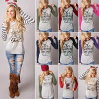 Wholesale Full Sleeve Woman - Christmas T-Shirt Women Xmas Elk Shirts Santa Claus Tops Long Sleeve Blouse Loose Casual Tees Print Blusas 20pcs OOA3037