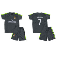 Wholesale Cheap Grey Suits - B Quality Cheap Kits Soccer Jersey Home Away Kids Sport Trainning Suit Child Football Set Boy Jersey Real Madrid Club
