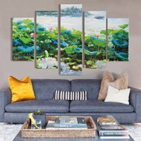 Wholesale Canvas Oil Painting Green Lilies - New arrival West lake of Hangzhou 5 pieces of green lotus leaf pictures beautiful water lily paintings for Home decoration free shipping
