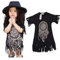 Wholesale Dreamcatcher Dress - 2016 INS Girls Clothes Dreamcatcher Summer Dresses Tassels Childrens Dressy Kids Clothing New Party Dress Black K7294