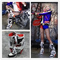 Wholesale Stylish High Heel Boots - Customized Women Fashion Harley Quinn Boots Batman Suicide Squad Harley Quinn Female Stylish Women Cosplay Shoes Clone For Women Halloween S