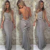 Wholesale Sexy Celeb - Black And White Stripes Elastic Tight Condole Sexy Backless Dress Womens Summer Celeb Boho Long Maxi Dress