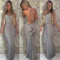 85300f58540 Schwarze und weiße Streifen elastische enge Condole Sexy Backless Kleid  Womens Sommer Celeb Boho Long Maxi Kleid