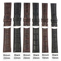Wholesale Wholesale Leather Straps For Bracelets - Wholesale-18~22mm Black Brown PU Leather Strap Steel Buckle Watch Band Soft Strap Band Watchband For Men's Women Watches Orologio Uomo