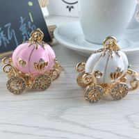 Wholesale Wedding Keychain Favors - Cinderella Pumpkin Carriage Keychain Key Chain White and Pink Color Gold Plated Alloy Key Ring Wedding Favors Party Gift + DHL free shipping