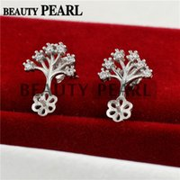 Bulk of 3 Pairs Tree of Life 925 Sterling Silver Zircon Earrings Blank Base Jewellery Findings