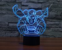 2017 New Superman 3D Optical Illusion Light 9 LEDs coloridos Acrílico Light Panel DC 5V Factory Wholesale