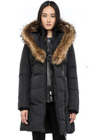 Wholesale Leather Fur Coats Brown White - Women's Down jacket WINTER MAC-KAYf-F4-A508 Down & Parkas Brand Real Raccoon Fur Collar White Duck Outerwear & Coats WITH FUR HOOD