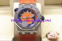 Wholesale Mens Watc - Luxury high quality 15710 15710ST.OO.A070CA.01 42mm Orange Dial Automatic Mens Watch Watches Rubber Strap Bands Stainless Steel Wrist watc