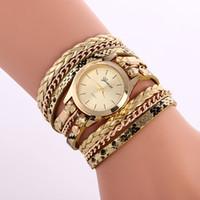 Wholesale Geneva Chain Watches - Wholesale Fashion Geneva Vintage women watches Weave Wrap Rivet ladies Leather Bracelet Leopard grain chain dress quartz watches
