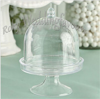 Wholesale Acrylic Cake Stands - FREE SHIPPING 20PCS Acrylic Clear Mini Cake Stand Wedding Party Shower Baby Birthday Sweet Table Reception Decor Ideas Souvenirs Supplies