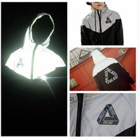 Wholesale Slim Clothes Men - Palace Men jacket casual hiphop windbreaker 3m reflective jacket tide brand men and women lovers sport coat hooded fluorescent clothing