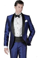 Wholesale Dinner Suits For Men - Italian Embroideries Groom's Wear Blue Smoking Dinner jacket Wedding Suits For Men Best man's 3 Peices Suits(Jacket+Pants+Bowtie)