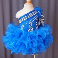 Nuevo Azul Azul Cupcake Toddler Girl's Pageant Dresses 2016 Un Hombro Crystal Lace Ball Gowns Ruffles Flower Girls Party Gown Baratos