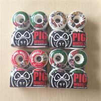 Wholesale Pig Skateboard Wheels - Wholesale-New arrived Free shipping PIG Skateboard Wheels PU Skate Wheels White 101A 52mm AND 54 MM Wheels SKateboard Rodas De Skate