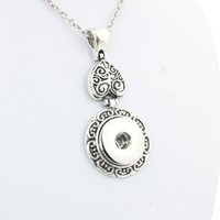 Wholesale Boom Metal - Wholesale- Boom Life Vintage women's flower 18mm metal snap button long chain necklaces&pendant female DIY jewelry one direction